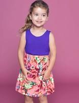Girls Toddler Floral Color Block Dress