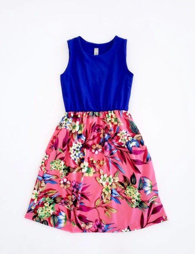 Girls Floral Color Block Dress