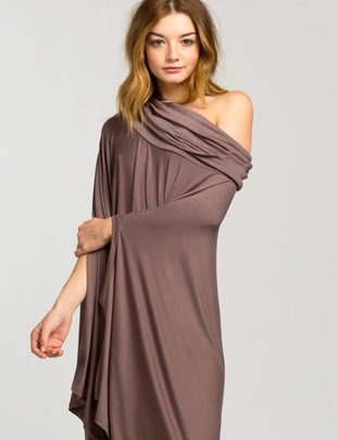 Off shoulder Poncho Style Tunic with slit armholes