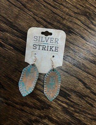 SILVER STRIKE Leather Arrow Stamped Earrings