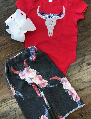 Back Road Beauties Red White And Blue Cow Skull Onesie