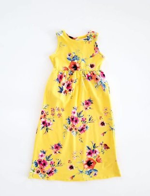 Little Girls Yellow Floral Maxi Dress
