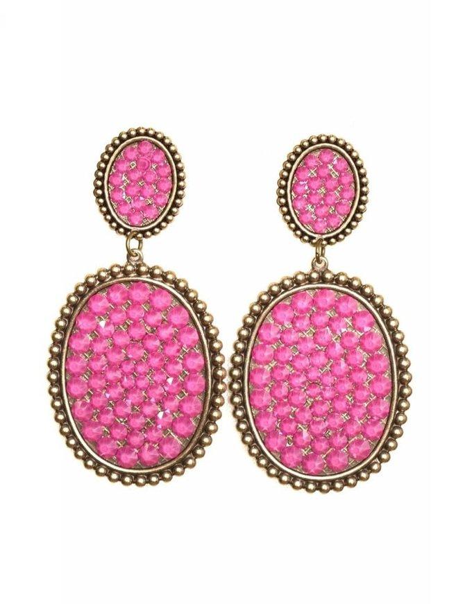 Pink Panache Bronze mini & medium Candy Pink crystal oval post earring