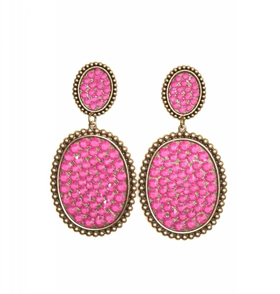 Pink Panache Bronze mini & medium Candy Pink crystal oval post earring