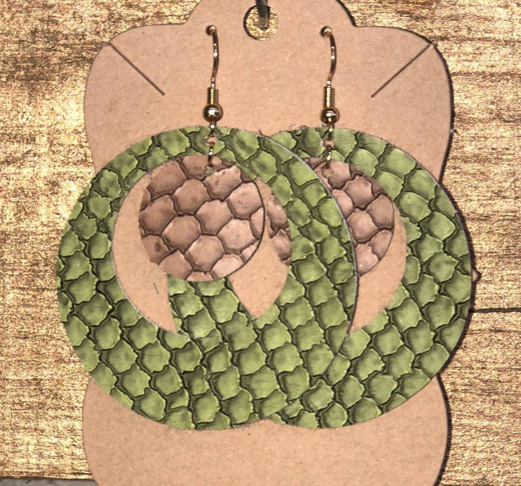 Back Road Beauties Green & Brown Snake Skin Hoops