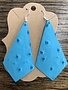 Back Road Beauties Blue Ostrich Leather Earrings-Long Diamond