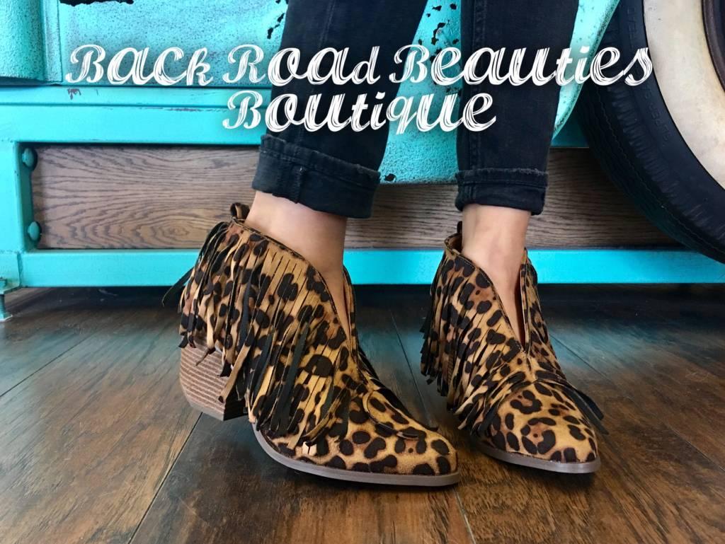 Carrie Fringe Leopard Bootie