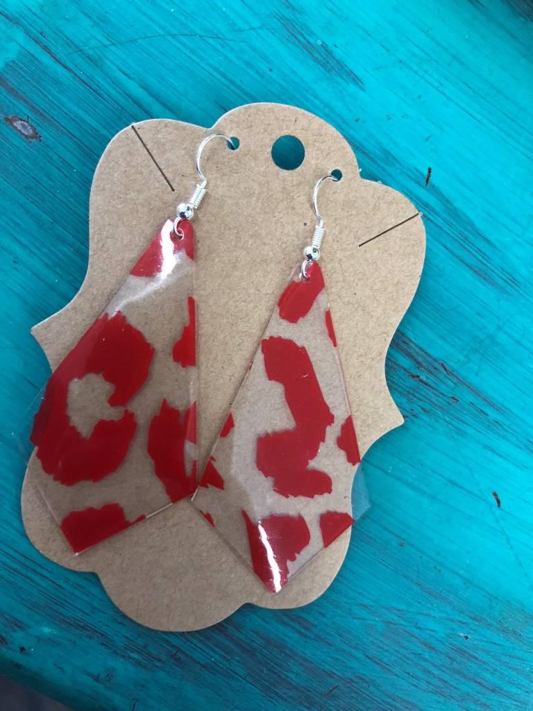 Back Road Beauties Clear Long Arrow w Red Leopard Earrings