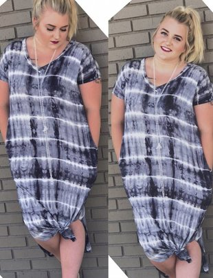 Tie-Dye Navy Dress Plus Size
