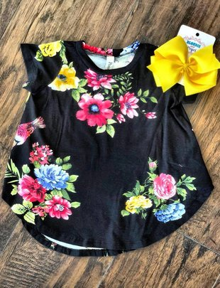 Toddler's Floral Black Top