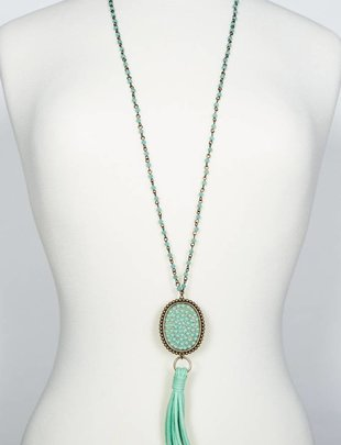 Pink Panache Long matte mint bead necklace with candy mint oval and mint suede tassel