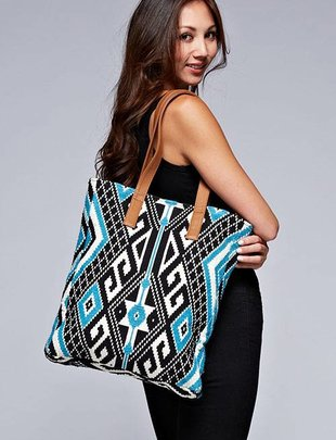 Black/Blue Canvas Tote
