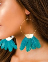 Gold Hoop Turquoise Feather Earring