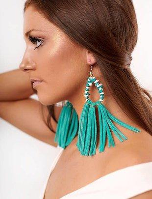 Boho Turquoise Beaded Tassel Earring