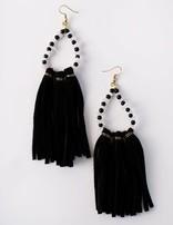 Black Beaded Tassel Earring