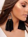 Boho Black Beaded Tassel Earring