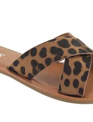 Leopard Criss Cross Slide On Sandal