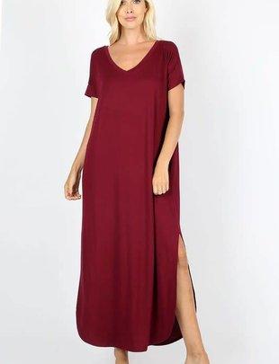 Side Slit Short Sleeve Maxi Dress