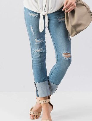 Distressed Light Wash Ripped Folded Jeans