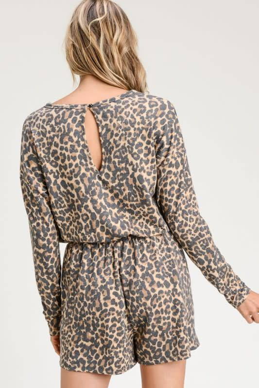 Button Front Leopard Romper