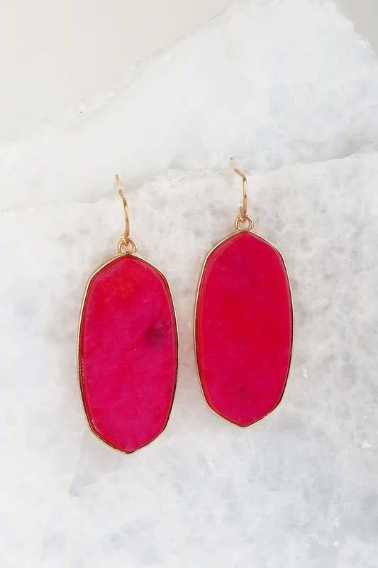 Pink Oval Stone Earring