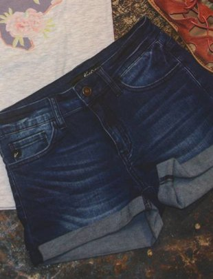 Dark Wash Folded Shorts