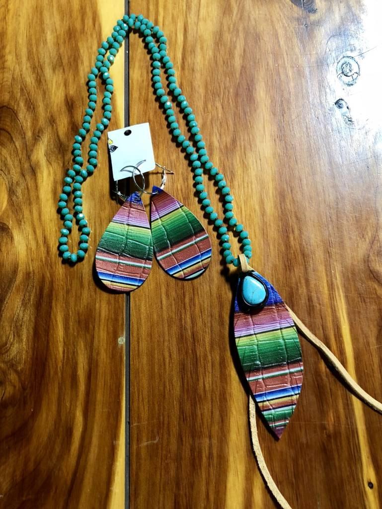 Serape Teardrop TQ Stone Necklace