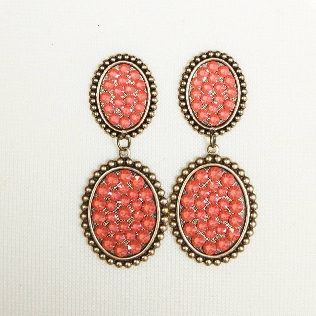 Pink Panache Bronze mini & small Candy Coral crystal oval post earring