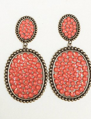 Pink Panache Bronze mini & medium Candy Coral crystal oval post earring