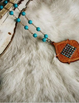 Pink Panache STAINED wood Moroccan pendant with ST/AB crystals on TURQUOISE fancy wrap necklace