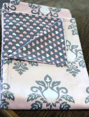 Pink Heart Fleece Baby Blanket