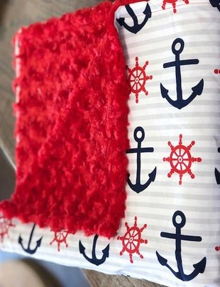 Mommy Designs Large Red & Blue Anchor w/ Red Minkie Blanket