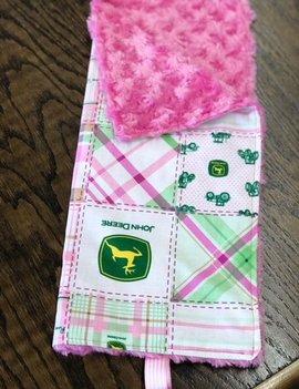 Mommy Designs Binky Blanket w/ Pink John Deere & PInk MInkie