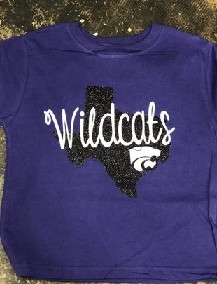 Back Road Beauties Kids Wildcat Black Texas Glitter Tee