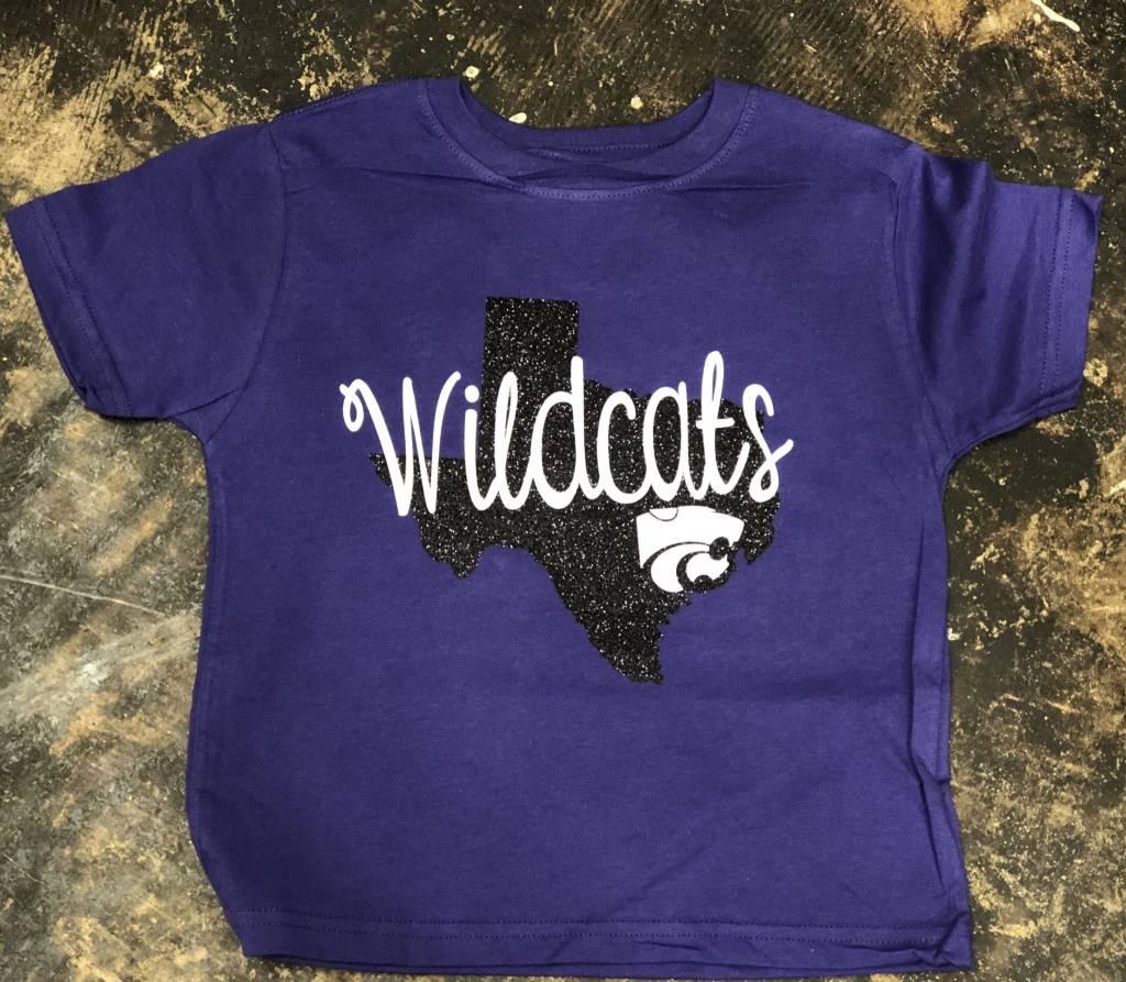 Back Road Beauties Kids Wildcat Black Texas Glitter Tee