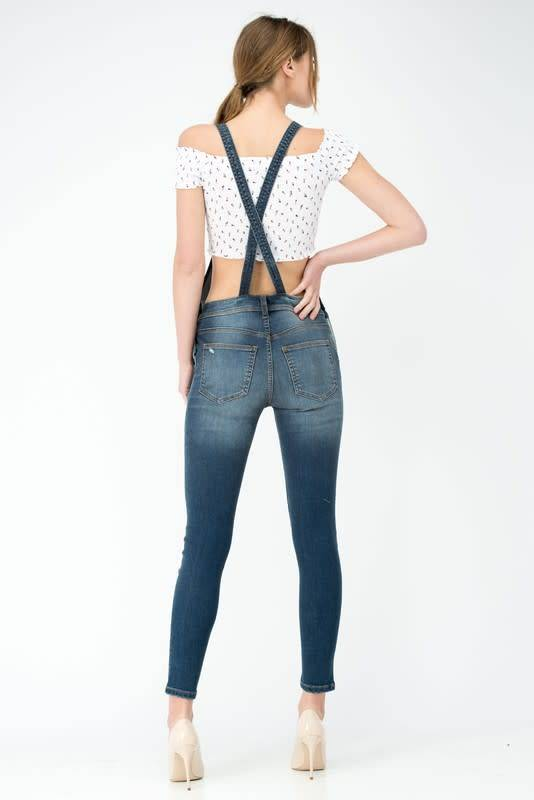 Distressed High Rise Overall