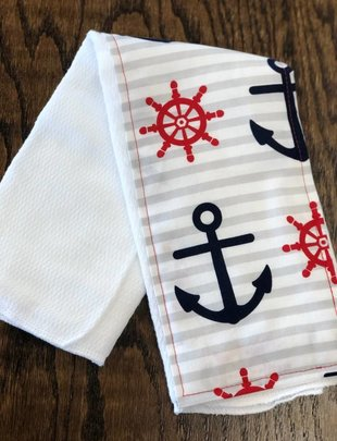 Anchor-Red-White Burp Pad