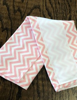 Mommy Designs Chevron- Pink w/White Ribbon Burp Pad