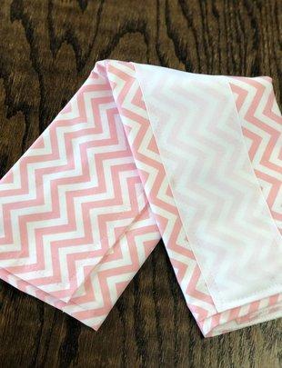 Chevron- Pink w/White Ribbon Burp Pad