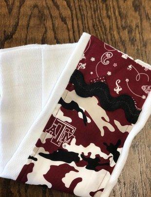 Mommy Designs A&M BLack Rick Rack Burp Pad