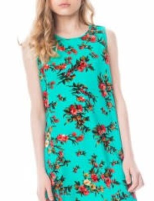 Girls Green Floral Print Dress
