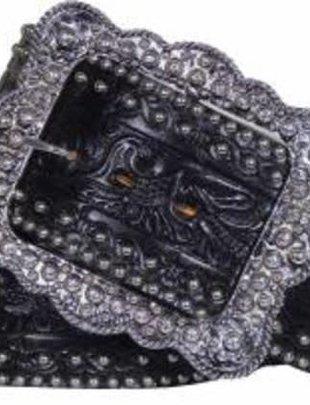 """Double J Black Floral Tooled 3"""" Belt"""