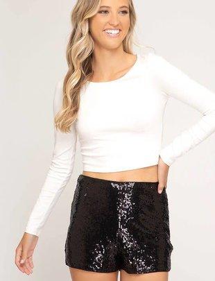 Black Sequin Sparkle Shorts