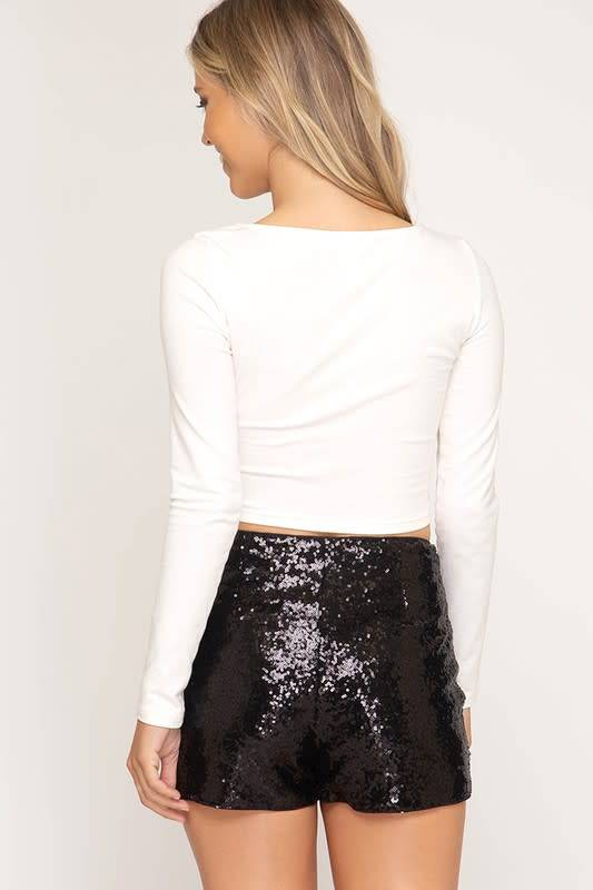 Black Sequin Sparkle Shorts