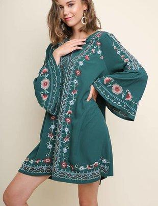 Ladies Teal Embroidered Dress