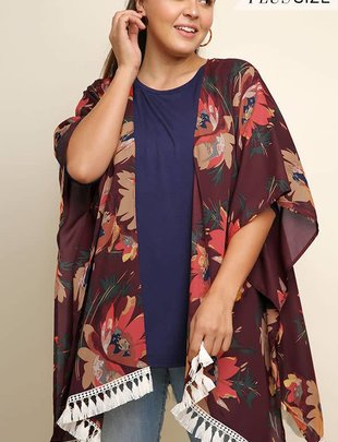 Ladies Plus Size Wine Floral Mix Cardigan