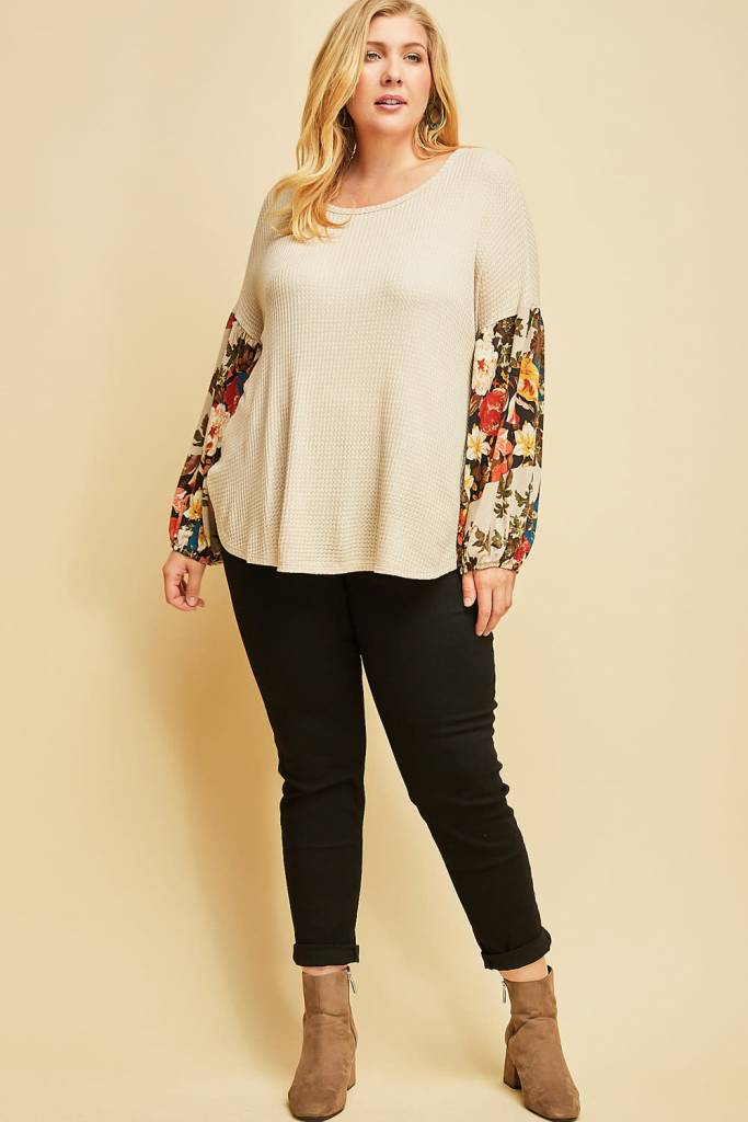 Ladies Plus Size Oatmeal Waffle Top