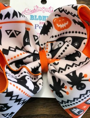 Blondie and Pearl XL Bout. Halloween Sweater Bow