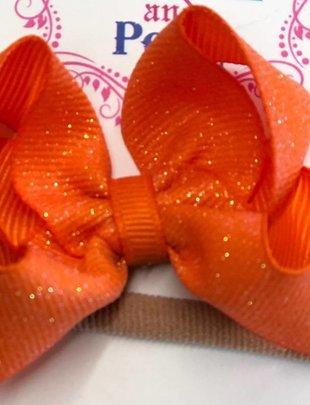 Blondie and Pearl Orange Dazzle Baby Headband