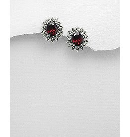 Marcasite/Red Earrings